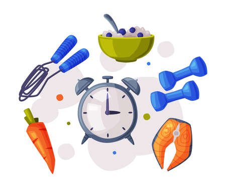Sports and Healthy Lifestyle, Alarm Clock, Sports Equipment and Healthy Nutritious Food Cartoon Style Vector Illustration