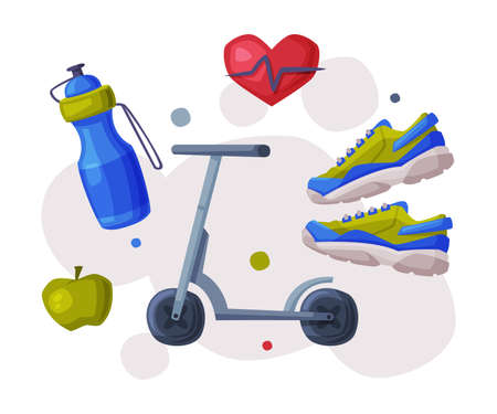 Sports and Healthy Lifestyle, Cardio Workout, Kick Sooter, Bottle of Water, Apple, Sneakers Cartoon Style Vector Illustration Illustration