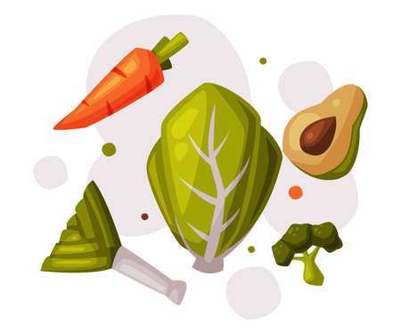 Healthy Diet, Fresh Organic Vegetables, Useful Products with Health Benefits Cartoon Style Vector Illustration