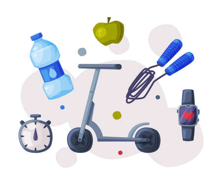 Sports and Healthy Lifestyle Objects, Kick Sooter, Skipping Rope, Bottle of Water, Apple, Stopwatch, Smartwatch Cartoon Style Vector Illustration