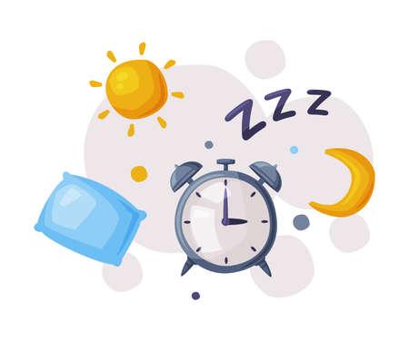 Sleep Alarm Clock, Sleep and Rest Mode Cartoon Style Vector Illustration on White Background Illustration