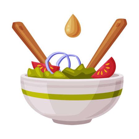 Bowl of Fresh Vegetable Salad, Healthy Nutritious Food Cartoon Style Vector Illustration Ilustracja