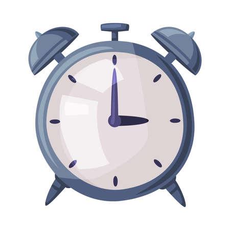 Classic Alarm Clock Cartoon Style Vector Illustration on White Background