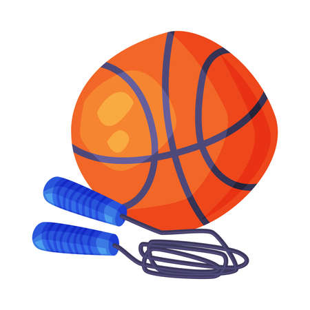 Basketball Ball and Skipping Rope Sports Equipment Cartoon Style Vector Illustration