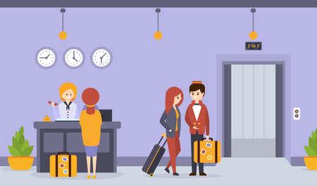 Hotel Reception, Woman Receptionist Standing at Reception Desk Registering Guest, Porter Man Carrying Luggage Cartoon Vector Illustration Vettoriali