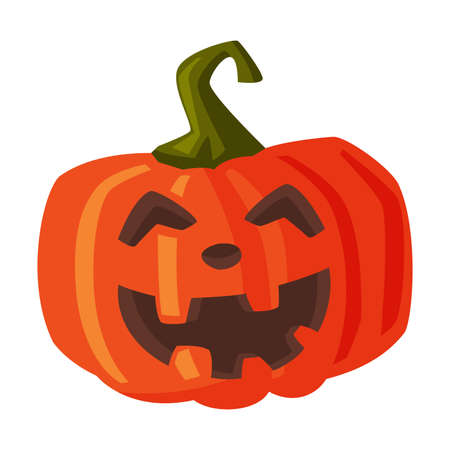 Halloween Scary Pumpkin, Spooky Creepy Vegetable with Smiling Face, Happy Halloween Object Cartoon Style Vector Illustration