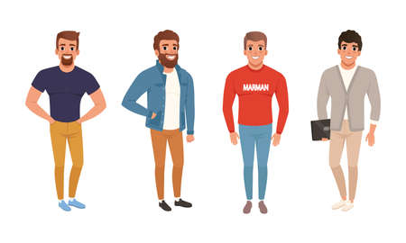 Young Men Dressed in Casual Fashionable Clothes Set, Bundle of Street Style Outfits, Guys Wearing Trendy Apparel Cartoon Style Vector Illustration