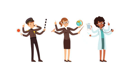 Multitasking People Collection, Police Officer, Teacher, Doctor Characters with Many Hands Cartoon Style Vector Illustration