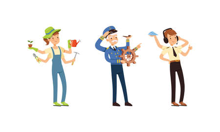 Multitasking People Collection, Captain, Air Traffic Controller, Gardener Characters with Many Hands Cartoon Style Vector Illustration