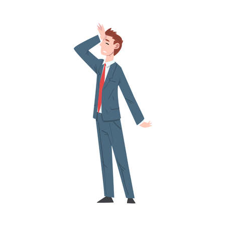 Sad Businessman Standing in Dramatic Pose, Unhappy Male Office Worker Character in Suit, Tired or Exhausted Manager Vector Illustration