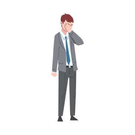 Sad Businessman Covering Face with his Palm, Depressed Unhappy Male Office Worker Character in Suit, Tired or Exhausted Manager Vector Illustration