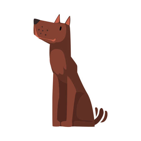 Cute Brown Dog Sitting and Looking Up Cartoon Vector Illustration on White Background
