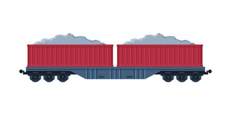 Red Loaded Cargo Train Wagons, Railroad Transportation Flat Vector Illustration on White Background Ilustrace