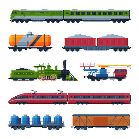 Modern and Old Trains Collection, Side View of Passenger and Cargo Wagons, Railroad Transportation Flat Vector Illustration on White Background Illusztráció