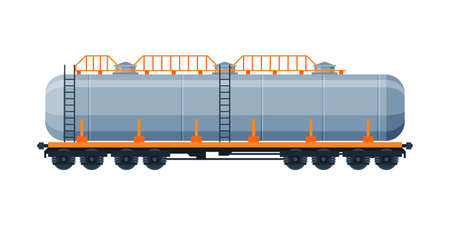 Tank Wagon, Oil Railway Cistern, Freight Train Railroad Transportation Flat Vector Illustration on White Background