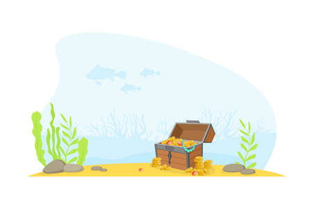 Wooden Ancient Chest of Gold at the Bottom of the Sea, Lost Pirate Treasures Cartoon Vector Illustration Ilustracja