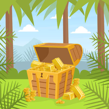 Wooden Ancient Chest of Gold on Tropical Island, Lost Pirate Treasures Cartoon Vector Illustration.