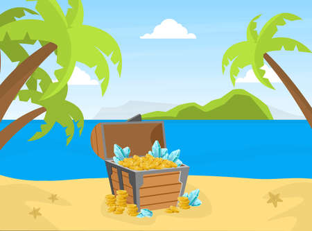 Wooden Chest with Golden Coins and Gems on Tropical Island, Lost Treasures Cartoon Vector Illustration Ilustracja