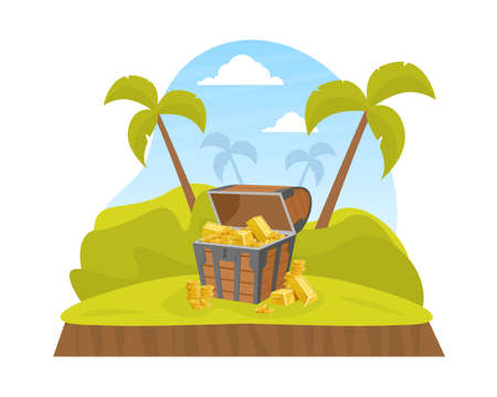 Wooden Pirate Ancient Chest of Gold on Tropical Island, Lost Treasures Cartoon Vector Illustration