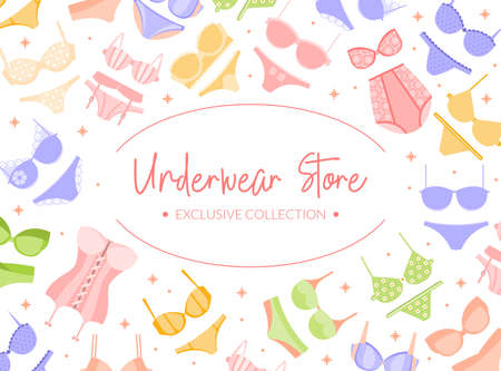 Woman Underwear Store Vector Banner or Poster Template