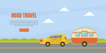 Travel Van Informative Banner for Renting Vector Template