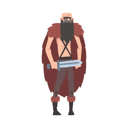 Angry Viking, Male Warrior Character in Animal Skin with Sword Vector Illustration