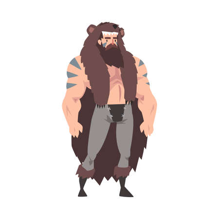 Strong Muscular Viking, Male Warrior Character with Bare Chest in Bear Skin Vector Illustration