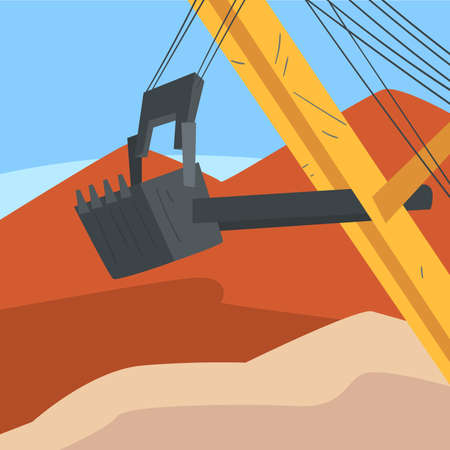Mining Quarry with Extractive Machinery, Excavator Working at Opencast Mine, Metallurgical Industry Concept Vector Illustration