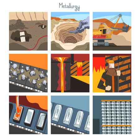 Metallurgical Industry Concept Set, Steel and Alloys Production, Mining and Metal Extraction Vector Illustration Vettoriali