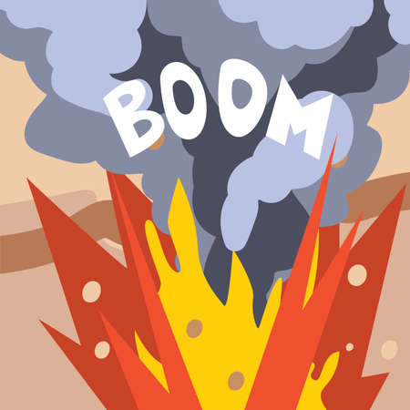 Explosion of Dynamite in Quarry, Mining and Metal Extraction, Metallurgical Industry Concept Vector Illustration