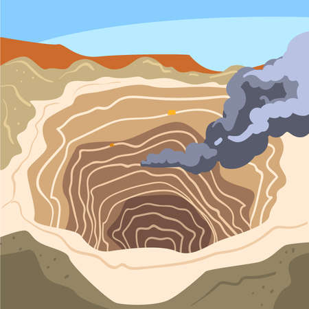 Mining Quarry, Opencast Mine, Metallurgical Industry Concept Vector Illustration