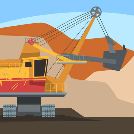 Dumping Truck Working at Mining Quarry, Metallurgical Industry Concept Vector Illustration