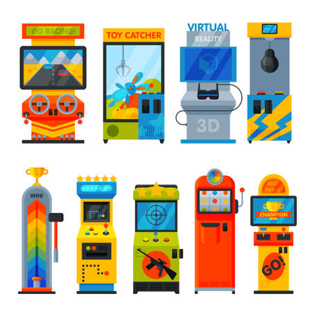 Arcade Game Machines Collection, Amusement Video Gaming Machinery Vector Illustration