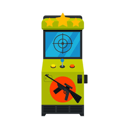 Shooting Arcade Game Machine with Rifle, Video Gaming Machinery Vector Illustration