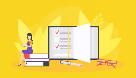 Tiny Woman Sitting on Pile of Books and Reading, Student Girl Studying and Preparing for Examination Vector Illustration