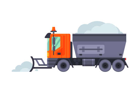 Snow Plow Truck, Winter Snow Removal Machine, Heavy Professional Cleaning Road Vehicle Vector Illustration