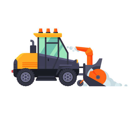Snow Plow Tractor, Winter Snow Removal Machine, Cleaning Road Snowblower Vehicle Vector Illustration