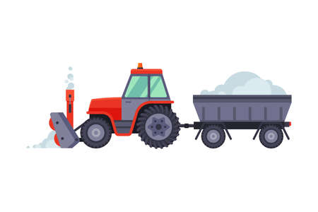 Snow Plow Tractor with Trailer, Winter Snow Removal Machine, Cleaning Road Vehicle Vector Illustration