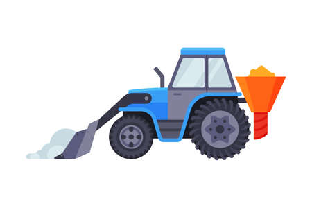 Snow Plow Tractor, Winter Snow Removal Machine, Cleaning Road Vehicle Vector Illustration