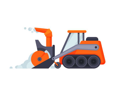Snow Plow Bulldozer, Winter Snow Removal Machine, Heavy Professional Cleaning Road Snowblower Vehicle Vector Illustration