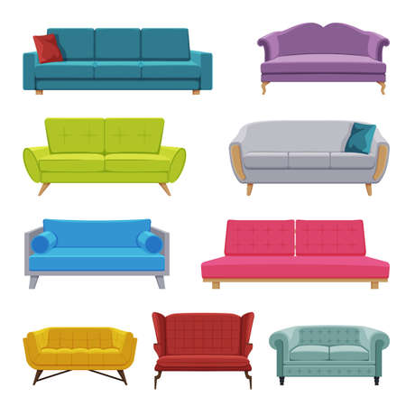Comfortable Sofas Collection, Cozy Domestic or Office Furniture, Modern Interior Design Flat Vector Illustration Vector Illustratie