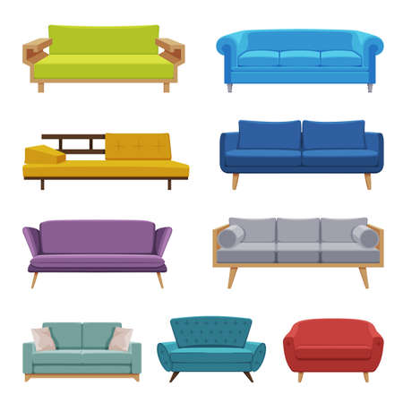 Comfortable Upholstered Sofas Collection, Cushioned Cozy Domestic or Office Furniture, Modern Interior Design Elements Flat Vector Illustration