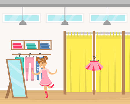 Cute Girl Kid Trying on Pink Dress in Clothing Store Fitting Room Cartoon Vector Illustration Vetores