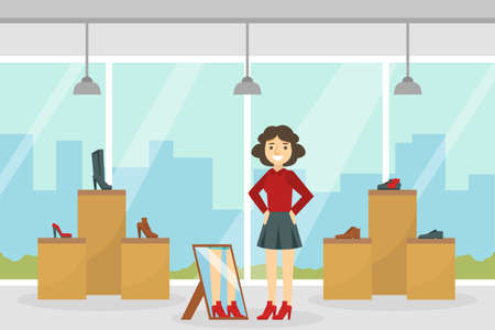 Girl Trying on Footwear in Shoes Shop, Young Woman Shopping in Mall Cartoon Vector Illustration