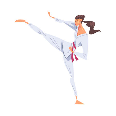 Girl Karateka Doing Powerful Kick, Karate Fighter Character in White Kimono Practicing Traditional Japan Martial Art Cartoon Style Vector Illustration