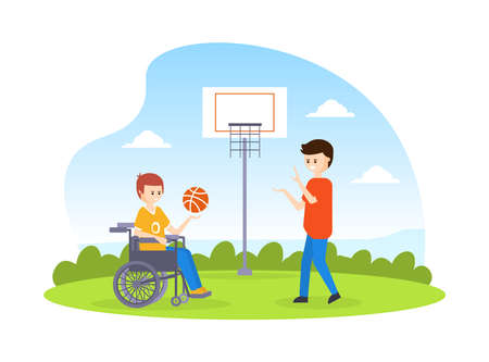 Disabled Basketball Player with Prosthesic Leg Playing Basketball with His Friend, Handicapped Person Doing Sports Outdoors Cartoon Vector Illustration