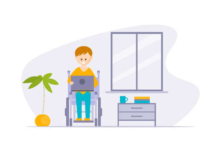 Young Disabled Man in Wheelchair Using Laptop Computer at Home Cartoon Vector Illustration
