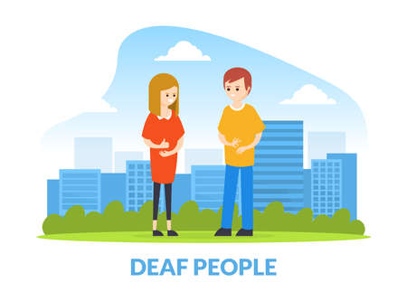 Deaf Man and woman Talking to Each Other with Gestures, Hearing Disability Concept Cartoon Vector Illustration Vetores