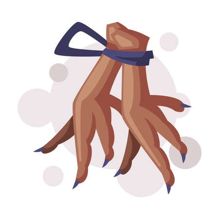 Chicken Paws for Magic Rituals, Occult Object for Mystic Ritual Cartoon Style Vector Illustration