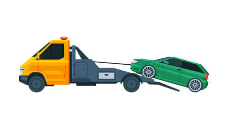 Green Car Evacuating by Tow Truck, Road Assistance and Evacuation Service Flat Vector Illustration